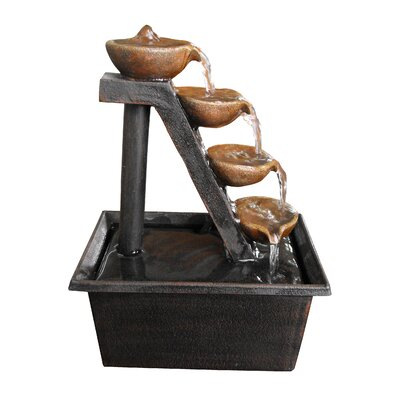 Alpine Step Polyresin 4 Tiered Tabletop Fountain