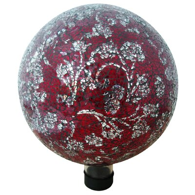 Mosaic Glass Gazing Globe with Flower Pattern