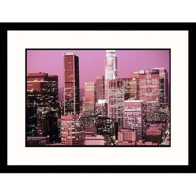 Great American Picture Los Angeles Skyline Dusk in California Framed Photograph - Ted Wilcox