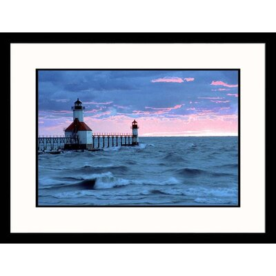 Great American Picture Seascapes 'Benton Harbor, Michigan Sunset' by Charles Benes Framed Photographic Print