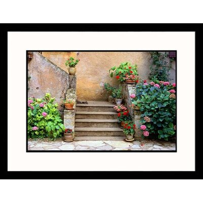 Great American Picture Geraniums near Staircase Framed Photograph