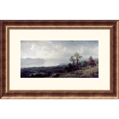 Great American Picture View of the Hudson Looking Across the Tappanzee  Bronze Framed Print - Albert Bierstadt