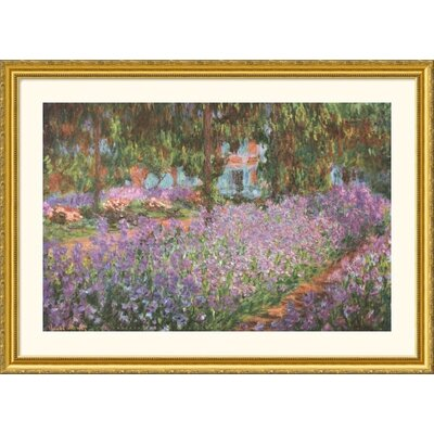 Great American Picture The Artist's Garden at Giverny, 1900 Gold Framed Print - Claude Monet