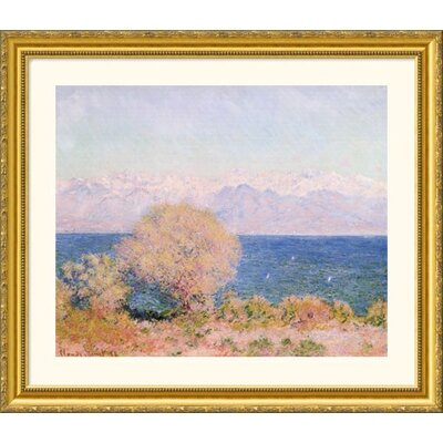 Great American Picture View of the Bay at Antibes and the Maritime Alps Gold Framed Print - Claude Monet