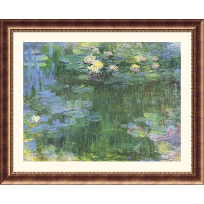 Great American Picture White and Purple Water Lilies Bronze Framed Print - Claude Monet