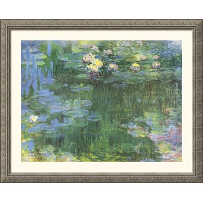 White and Purple Water Lilies Silver Framed Print - Claude Monet