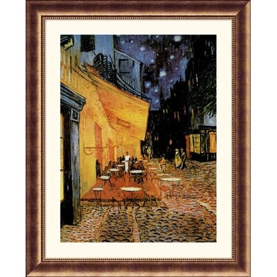 Cafe Terrace At Night Bronze Framed Print - Vincent van Gogh