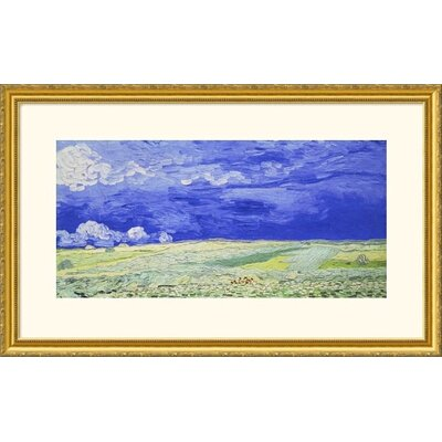 Great American Picture Field Under a Stormy Sky Gold Framed Print - Vincent van Gogh