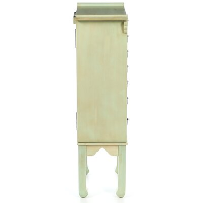 Wildon Home ® Ningbo Way Six Drawer Jewelry Armoire in Distressed Rustic Green