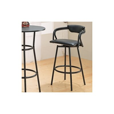 "Wildon Home ® Pitkin 29"" Bar Stool with Back in Satin Black and Black Vinyl Seat"
