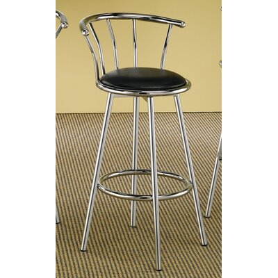 "Wildon Home ® Blachy 29"" Bar Stool with Black Seat in Chrome"