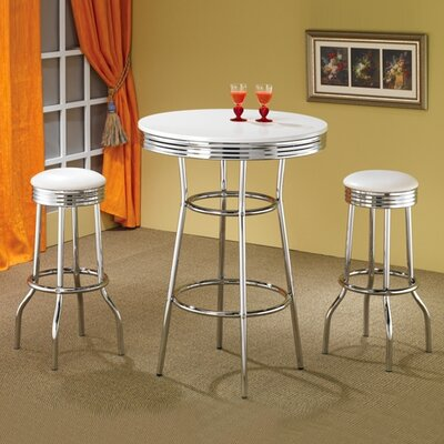 Wildon Home ® Red Cliff Retro Bar Table in Chrome