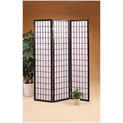 Wildon Home ® Olympia Three Panel Folding Screen in Wood with Black Frame
