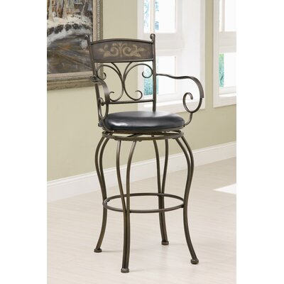 Wildon Home ® Hickory Creek Barstool in Black with Curved Legs