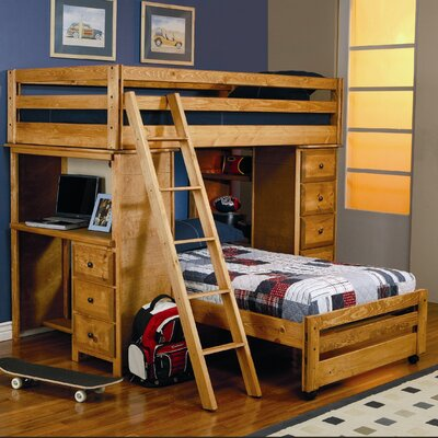 Wildon Home ® Enchanted Twin over Twin L-Shaped Bunk Bed with Desk and Storage