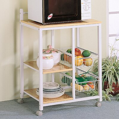 Wildon Home ® Lake Havasu Microwave Cart with Wood Top