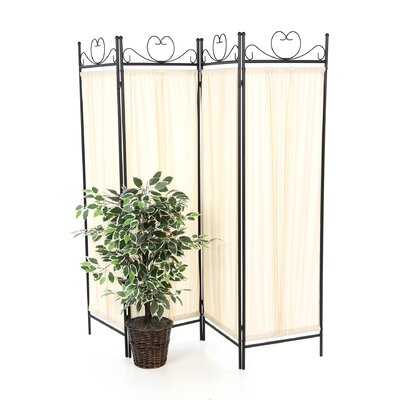 "Wildon Home ® 79"" x 69.75"" Port Angeles Butterfly Decor Folding 4 Panel Room Divider"