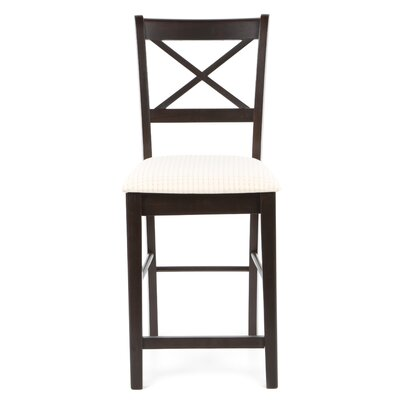 "Wildon Home ® Kremmling 24"" Bar Stool with Cross Back Fabric Seat in Cappuccino"