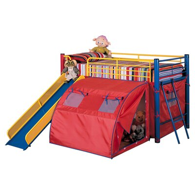wildon home twin loft bed with slide and tent reviews wayfair. Black Bedroom Furniture Sets. Home Design Ideas