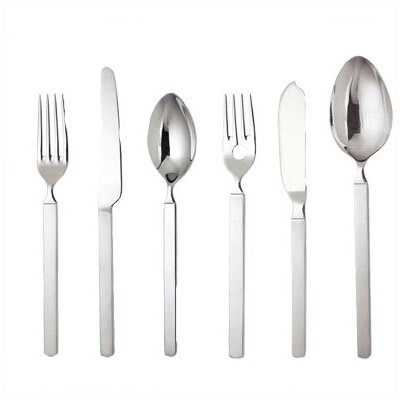 Alessi-Dry Dessert Fork in Mirror with Satin Handle by Achille Castiglioni