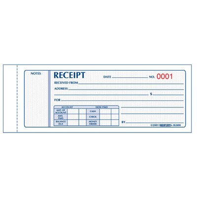 "Rediform-Blueline 2-3/4"" x 7"" Carbonless Triplicate Money Receipt Book"