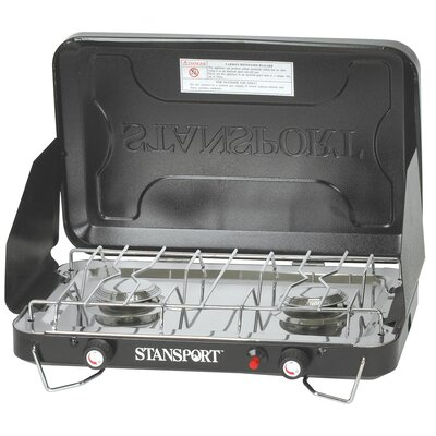 Stansport 2 Burner Stove Piezo with Drip Pan