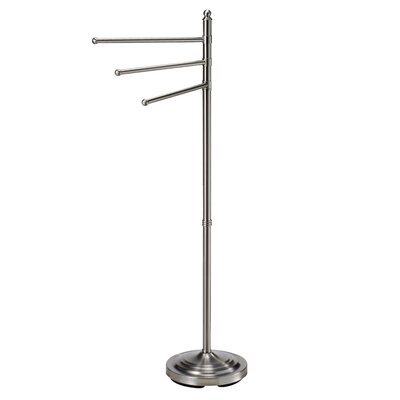 Gatco 3-Arm Floor Towel Stand in Satin Nickel