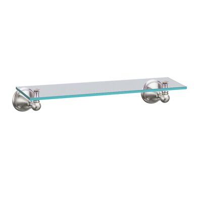 Gatco Laurel Avenue Glass Vanity Shelf in Satin Nickel
