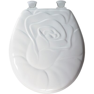Molded Wood Rose Design Round Toilet Seat