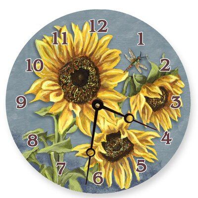 Tuscan Sunflowers Round Clock