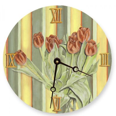 Orange Tulips Round Clock