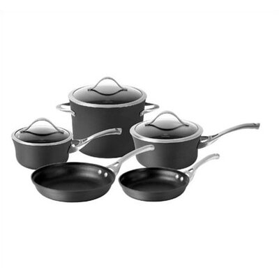 Contemporary Hard-Anodized Aluminum 8-Piece Cookware Set