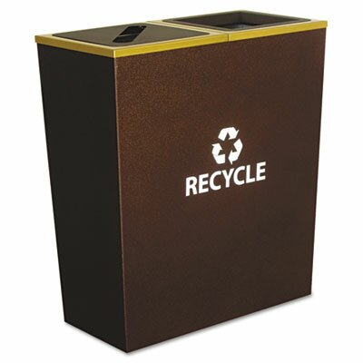 Ex-Cell Metro Collection Recycling Receptacle, Double Stream, Steel, 36 Gal