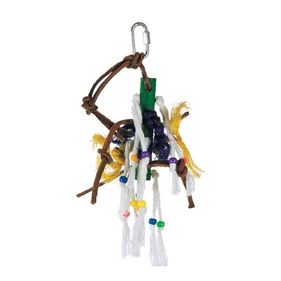 Hagen Living World Small Wood Peg with Ropes, Leather Strips with Beads Bird Toy