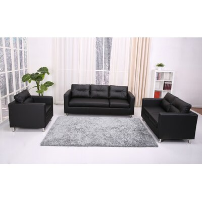 Gold Sparrow Detroit Convertible Sectional Sofa & Ottoman in Black