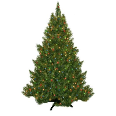 "General Foam Plastics 53"" Green Evergreen Fir Artificial Christmas Tree with 250 Pre-Lit Multicolored Lights"