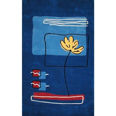 American Home Rug Co. Beach Rug Dark Blue Flower Rug