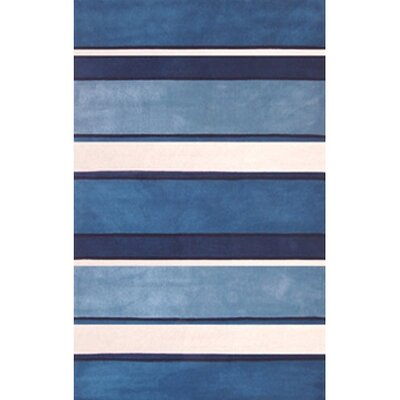 Beach Rug Blue/White Ocean Stripes Rug