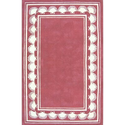 Beach Rug Dusty Rose Shell Border Novelty Rug
