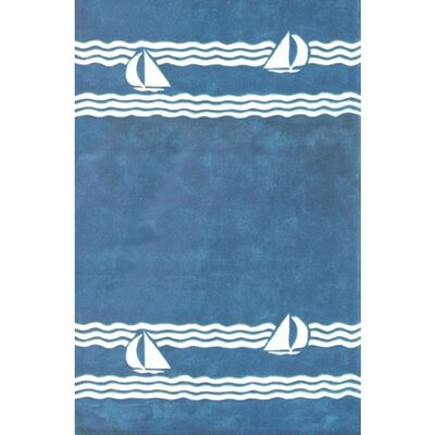 Beach Rug Blue Sailboat Novelty Rug