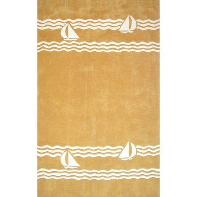 American Home Rug Co. Beach Rug Yellow Sailboat Novelty Rug