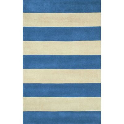 Beach Rug Blue/Ivory Boardwalk Stripes Rug