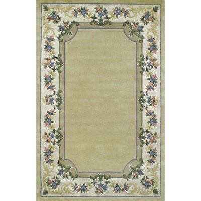 Beautiful Border Pale Yellow/Ivory Floral Border Rug