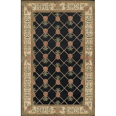 American Home Rug Co. Cape May Black/Ivory Pineapple Garden Rug