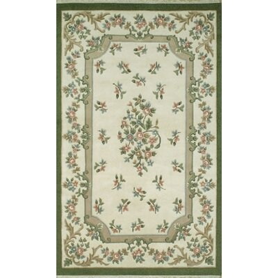 French Country Aubusson Ivory/Emerald Floral Rug