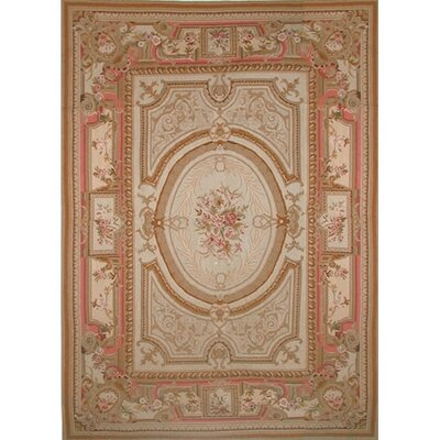 Grandeur Beige Teal Needlepoint Aubusson Area Rug Wayfair