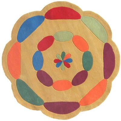 American Home Rug Co. Kiddie Yellow Carousel Kids Rug