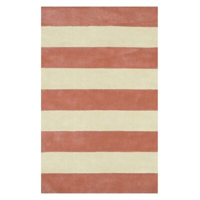 Beach Rug Light Coral/Ivory Boardwalk Stripes Rug
