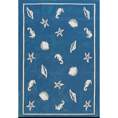 Beach Rug Blue Shells and Seahorses Novelty Rug