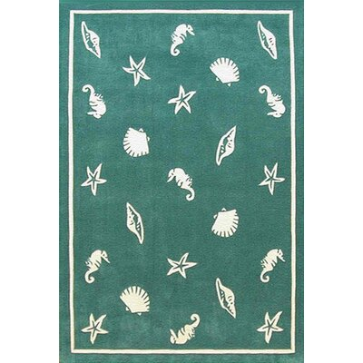 American Home Rug Co. Beach Rug Teal Shells and Seahorses Novelty Rug